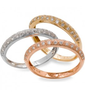 Rings - 0.74 Carat Modern Round Brilliant Diamond 14Kt Tri-Gold Bands