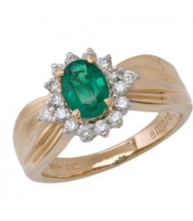 Rings - 0.99 Carat Classic Oval Cut Emerald and Diamond 14Kt Yellow Gold Ring