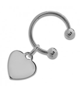 Sterling Silver Heart and Hoop Key Ring