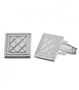 Sterling Silver Tartan Pattern Cufflinks