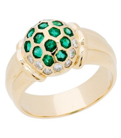 Rings - 1.05 Carat Modern Round Cut Emerald and Diamond 18Kt Yellow Gold Ring