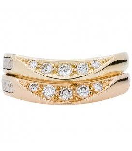 Rings - 0.42 Carat Modern Round Brilliant Baraka 18Kt Yellow and Rose Gold Stackable Ring