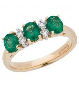 Rings - 1.14 Carat Classic Oval Cut Emerald and Diamond 14Kt Yellow Gold Ring