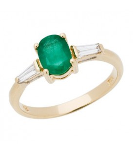 Rings - 1.08 Carat Classic Oval Cut Emerald and Diamond 14Kt Yellow Gold Ring