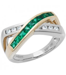 Rings - 0.77 Carat Stunning Square Cut Emerald and Diamond 14Kt Two-Tone Gold Ring