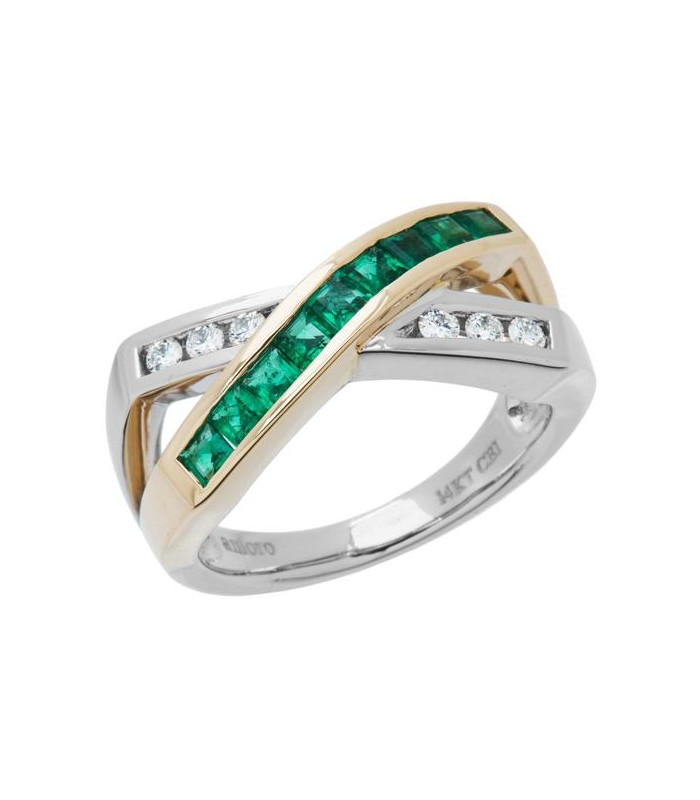 Square Cut 0 77 Ct Emerald and Diamond Ring 14Kt Two Tone