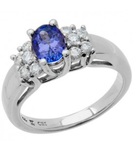 Rings - 1.12 Carat Modern Oval Cut Tanzanite and Diamond 14Kt White Gold Ring