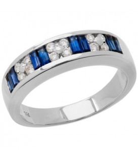 Rings - 1.01 Carat Stunning Sapphire and Diamond 14Kt White Gold Ring