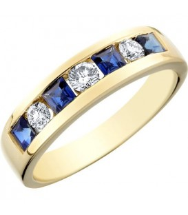 More about 0.96 Carat Modern Square Cut Sapphire and Diamond 14Kt Yellow Gold Ring