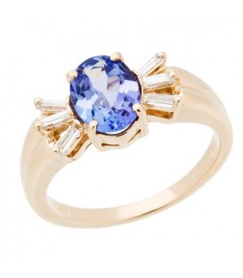 Rings - 2.06 Carat Classic Oval Cut Tanzanite and Diamond 14Kt Yellow Gold Ring