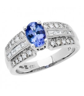 Rings - 1.28 Carat Classic Oval Cut Tanzanite and Diamond 14Kt White Gold Ring