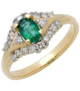 Rings - 0.93 Carat Classic Oval Cut Emerald and Diamond 14Kt Yellow Gold Ring