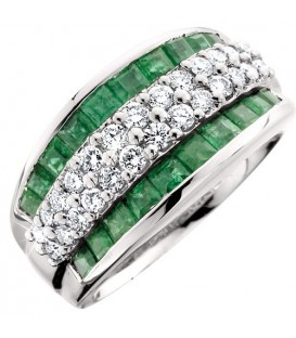 Rings - 1.78 Carat Stunning Princess Cut Emerald and Diamond 14Kt White Gold Ring