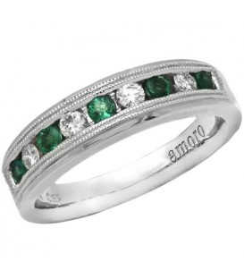 Rings - 0.57 Carat Classic Round Cut Emerald and Diamond 14Kt White Gold Ring