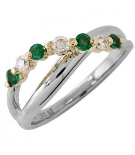 Rings - 0.42 Carat Classic Round Cut Emerald and Diamond 14Kt Two-Tone Gold Ring