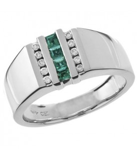 Rings - 0.54 Carat Modern Square Cut Emerald and Diamond 14Kt White Gold Ring
