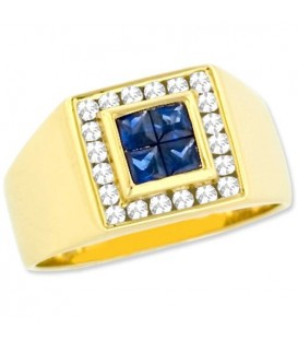 Rings - 1 Carat Modern Square Cut Sapphire and Diamond 14Kt Yellow Gold Ring