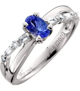 Rings - 0.68 Carat Classic Oval Cut Tanzanite and Diamond 14Kt White Gold Ring