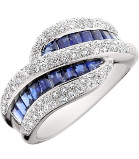 Rings - 2.45 Carat Square Cut Sapphire and Diamond 14Kt White Gold Ring