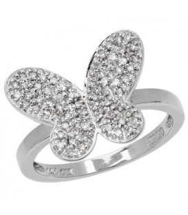 Rings - 0.25 Carat Round Cut Diamond Butterfly 14Kt White Gold Ring