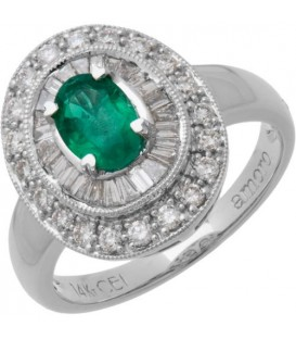 Rings - 1.56 Carat Oval Cut Emerald and Diamond 14Kt White Gold Ring