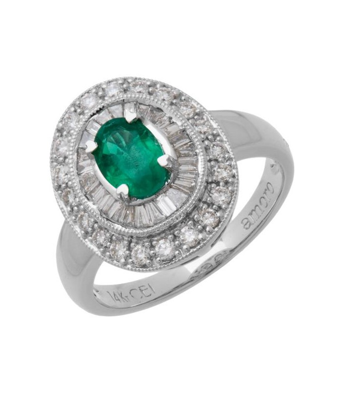 Oval Cut 1 56 Ct Emerald And Diamond Ring 14kt White Gold