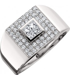Rings - 0.88 Carat Round and Princess Cut Diamond Gent's 14kt White Gold Ring