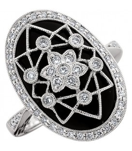 Rings - 0.40 Carat Round Cut Diamond and Onyx 18Kt White Gold Ring