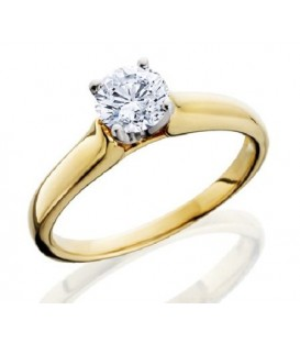 Rings - 0.80 Carat Classic Round Brilliant Diamond Solitaire 18Kt Yellow Gold Ring