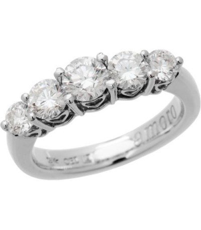 Rings - 1.50 Carat Classic Five Stone Diamond 18Kt White Gold Ring