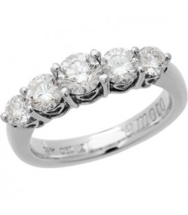 1.50 Carat Classic Five Stone Diamond 18Kt White Gold Ring