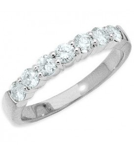 Rings - 0.50 Carat Classic Seven Stone Diamond 18Kt White Gold Ring