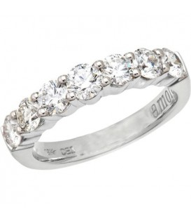 Rings - 0.75 Carat Classic Seven Stone Diamond 18Kt White Gold Ring