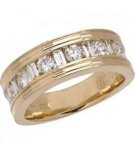 1 Carat Contemporary Diamond 18Kt Yellow Gold Band