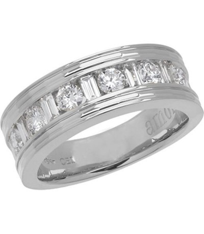 Rings - 1 Carat Contemporary Diamond 18Kt White Gold Band