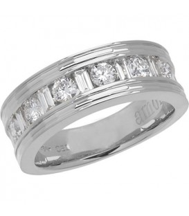 1 Carat Contemporary Diamond 18Kt White Gold Band