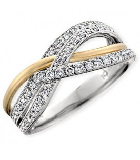 0.40 Carat Contemporary Diamond 18Kt Two-Tone Gold Ring