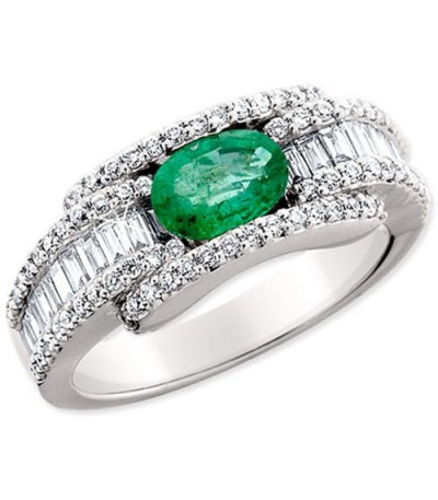 Rings - 1.75 Carat Charming Emerald and Diamond 14Kt White Gold Ring