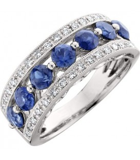Rings - 1.70 Carat Contemporary Round Cut Sapphire and Diamond 18Kt White Gold Ring