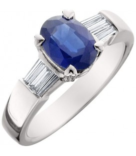 Rings - 1.78 Carat Classic Oval and Baguette Cut Sapphire and Diamond 14Kt White Gold Ring
