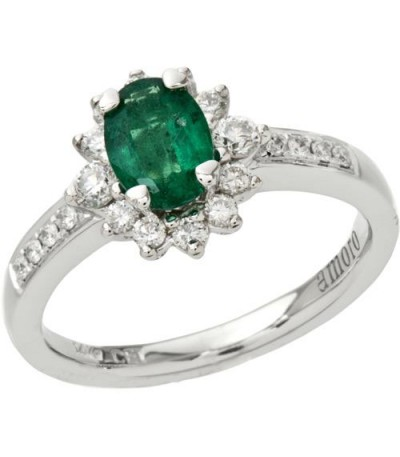Rings - 1.17 Carat Classic Oval and Round Cut Emerald and Diamond 14Kt White Gold Ring