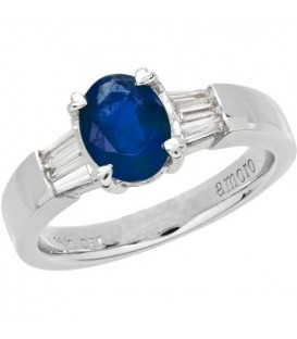 Rings - 1.78 Carat Classic Oval and Baguette Cut Tanzanite and Diamond 14Kt White Gold Ring
