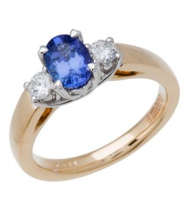 Rings - 1.33 Carat Classic Oval and Round Cut Tanzanite and Diamond 14Kt Yellow Gold Ring