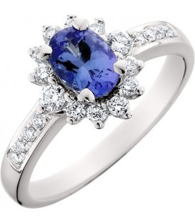 Rings - 1.17 Carat Classic Oval and Round Cut Tanzanite and Diamond 14Kt White Gold Ring