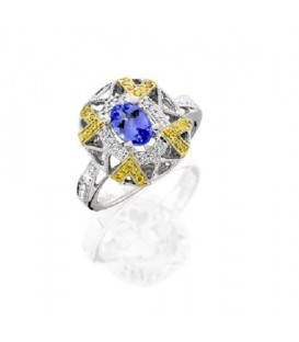 Rings - 0.95 Carat Modern Oval and Round Cut Tanzanite and Diamond 18kt Two-Tone Gold Ring