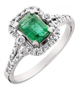 Rings - 1.19 Carat Eternally Beautiful Emerald Cut Emerald and Diamond 14Kt White Gold Ring