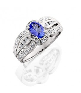 Rings - 1.18 Carat Stunning Oval and Round Brilliant Cut Tanzanite and Diamond 18Kt White Gold Ring