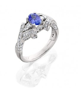 Rings - 1.49 Carat Stunning Oval and Round Brilliant Cut Tanzanite and Diamond 18Kt White Gold Ring