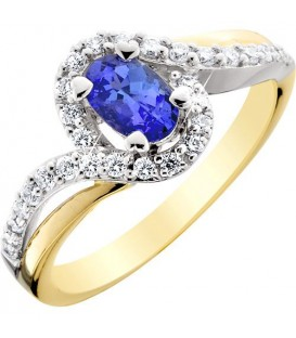 Rings - 0.83 Carat Stunning Oval and Round Brilliant Tanzanite and Diamond 14Kt Two-Tone Gold Ring