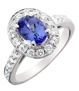 Rings - 2.45 Carat Stunning Oval and Round Brilliant Tanzanite and Diamond 14Kt White Gold Ring